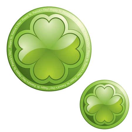 clover buttons: Four leaf clover on sphere button icon - design element Illustration