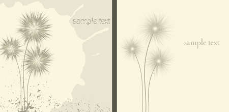 ostrożeń: Two brown grunge background - dandelion and thistle.Vector