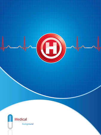 Hospital button on blue medical background Vector