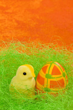 Easter chicken with egg in nest on orange background  photo