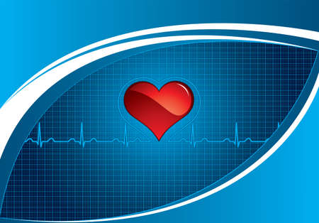 Heartbeat on blue medical background Vector