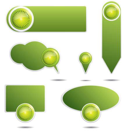 Set of green website elements.Promotional speech bubbles Stock Vector - 9148207