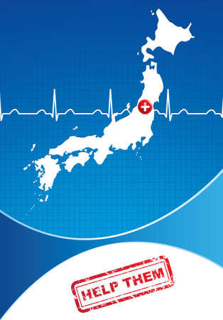 Japan Charity advertisement. Help Japan Vector