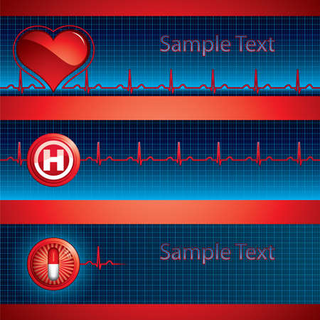 Heartbeat on blue background - three medical banner Stock Vector - 9260744