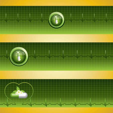 Green alternative medication concept - three medical banner Stock Vector - 9311840