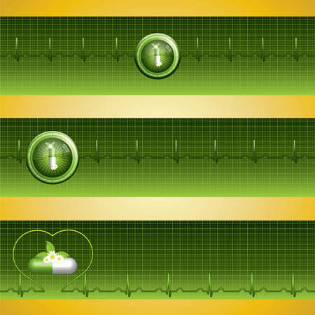 Green alternative medication concept - three medical banner