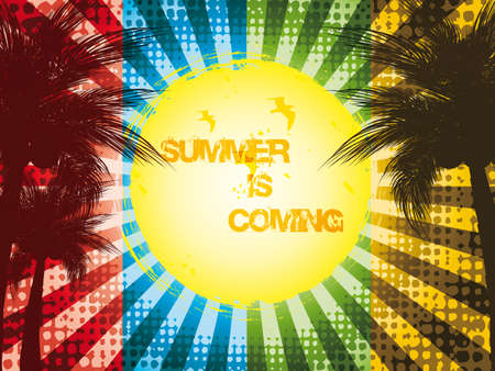 Grunge summer holiday background.Tropical banner Vector