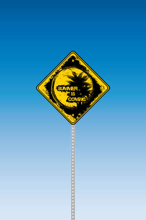 Tropical beach road sign on a blue graduated sky Stock Vector - 9448932