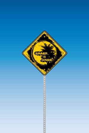 Tropical beach road sign on a blue graduated sky Stock Vector - 9448932