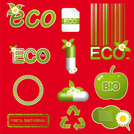 Set of green ecology icons.Eco design elements Vector