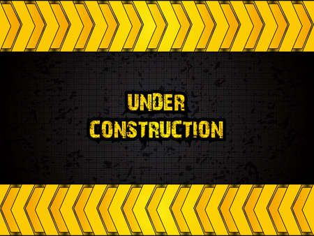 Orange under construction grunge background Vector