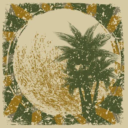 Grunge tropical background.Beach illustration Vector