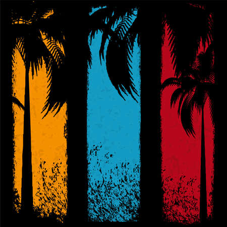 Three grunge summer holiday banner Vector