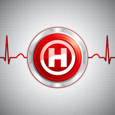 Shiny Hospital sign.Steel style medical button Stock Vector - 9660440