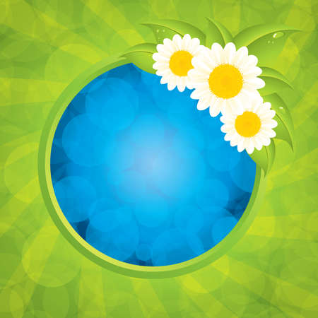 Green Eco frame illustration with flowers Vector