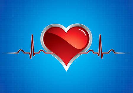 Heart beats vector illustration.Steel style medical button Vector