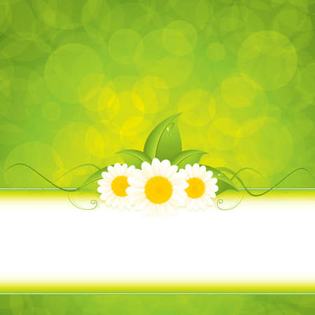 Green leaf frame illustration with flowers Stock Vector - 9719897