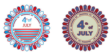 4th of July independence day badges isolated on a white background Vector