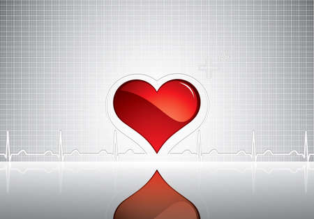 Heart and heartbeat symbol on reflective surface.Medical background Stock Vector - 9840999