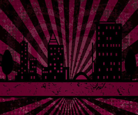 I Love the Big City Life grunge pink background Vector