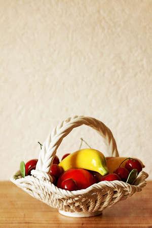 Retro Still Life.Fruit basket photo