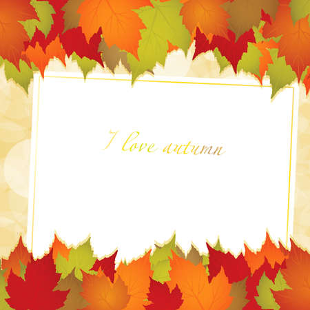 Autumn background with leaves and a greeting card Stock Vector - 10365590