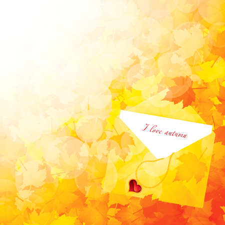 Autumn background with leaves and a greeting card Stock Vector - 10365591
