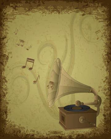 casting: Hintergrund Musik - Retro Grammophon auf erodierten Grunge Papier