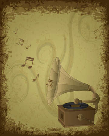 eroded: Music background - retro gramophone on eroded grunge paper Illustration