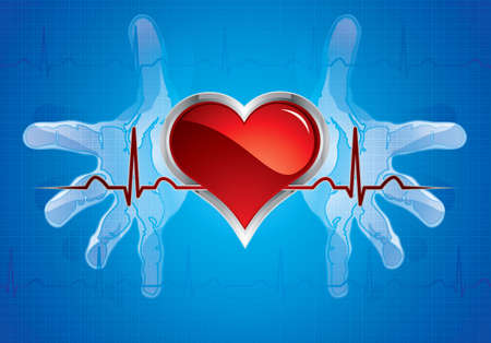 Human hands caring heart.Medical background Vector