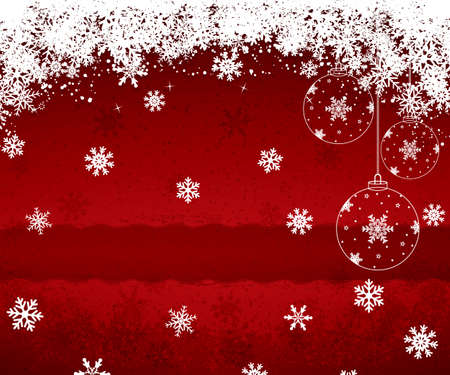 Red Christmas background with snowflakes.Vector Vector