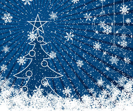 Christmas decoration background with tree Vector