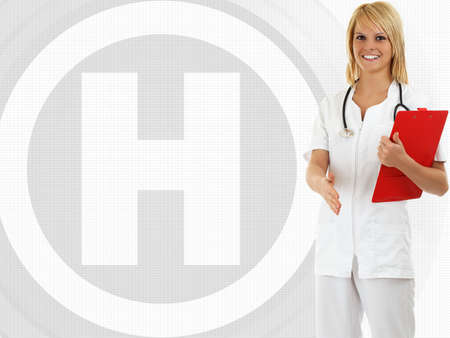 Smiling female medical doctor with stethoscope, offering to shake hands.Hospital sign photo