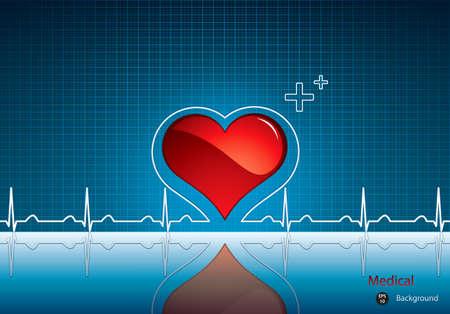 latidos del coraz�n: Coraz�n y el latido del coraz�n s�mbolo sobre fondo reflectante surface.Medical Vectores