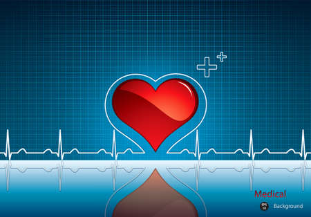 beats: Heart and heartbeat symbol on reflective surface.Medical background Illustration