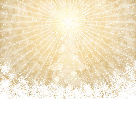 Golden Christmas decoration background with tree Vector