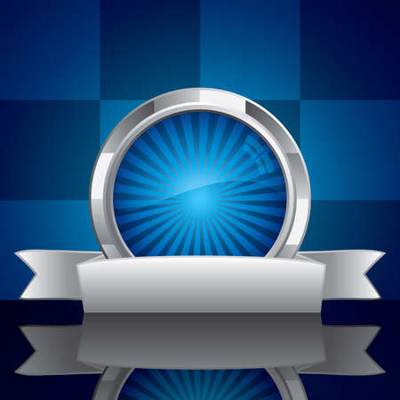 Steel style security shield symbol on blue background Vector