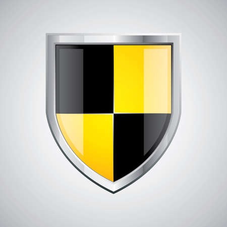 Glossy black and yellow shield emblem on silver background Vector