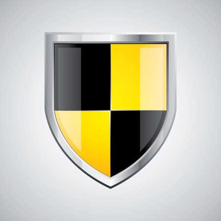 shield emblem: Glossy emblema scudo nero e giallo su sfondo argento