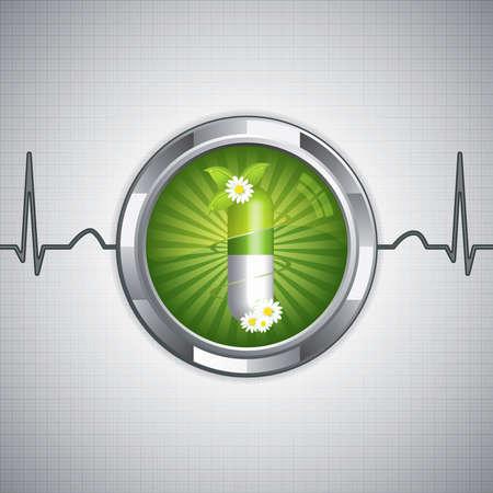 alternative: Green alternative medication concept - Natural herbal pill