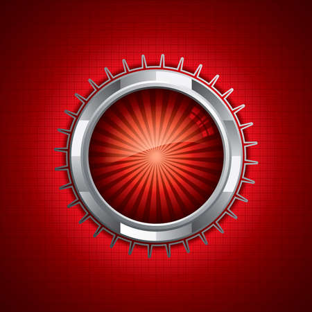 Steel style security button on red background Vector