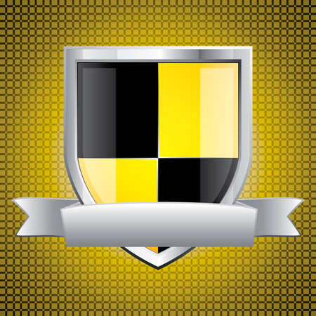 Glossy black and yellow shield emblem on golden background Vector