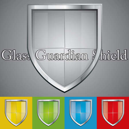 A set of glass metallic security shields Vector