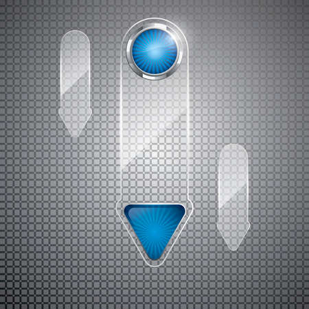 Futuristic glass arrows on metal background Vector