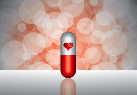 Beautiful red pill - medication concept Vector