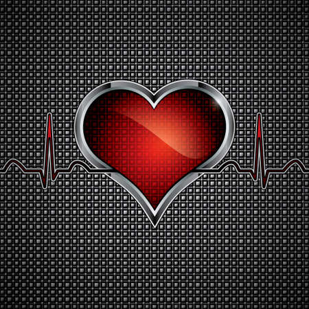 hjärtslag: Stål hjärta knapp på metalliskt background.Medical koncept