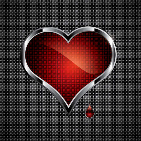 Steel heart button on metallic background.Love concep Vector