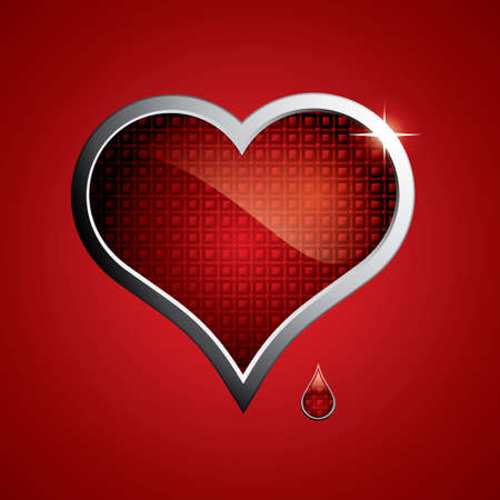 concep: Steel heart button on metallic background.Love concep