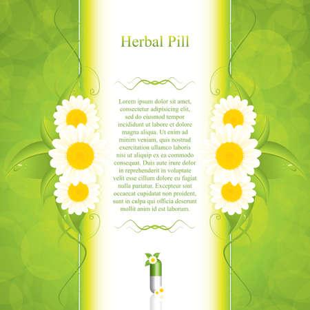 Concepto verde medicación alternativa - ilustración vectorial