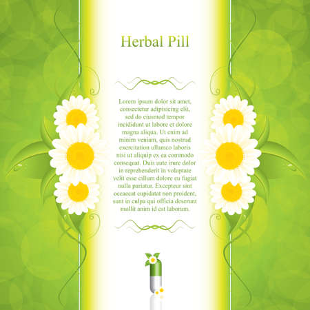 pharmaceuticals: Green alternative medication concept - vector illustration